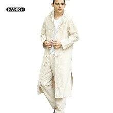 Китайский стиль мужчины Kongfu Тренч с капюшоном куртка мужские/женские хлопок белье Кардиган Свободные повседневные длинный Тренч пальто ве...(China (Mainland))