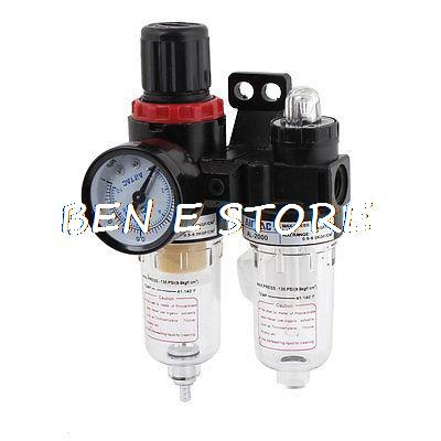 AFC2000 Air Filter Regulator Lubricator Combinated AFR-2000 + AL-2000 with Pressure Gauge пневматические детали airtac 2000 pt 1 4 w afr2000 afr 2000
