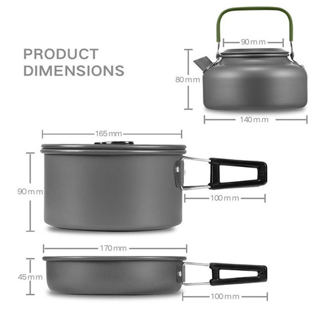 VILEAD Portable Camping Pot Pan Kettle Set Aluminum Alloy Outdoor Tableware Cookware 3pcs/Set Teapot Cooking Tool for Picnic BBQ 1