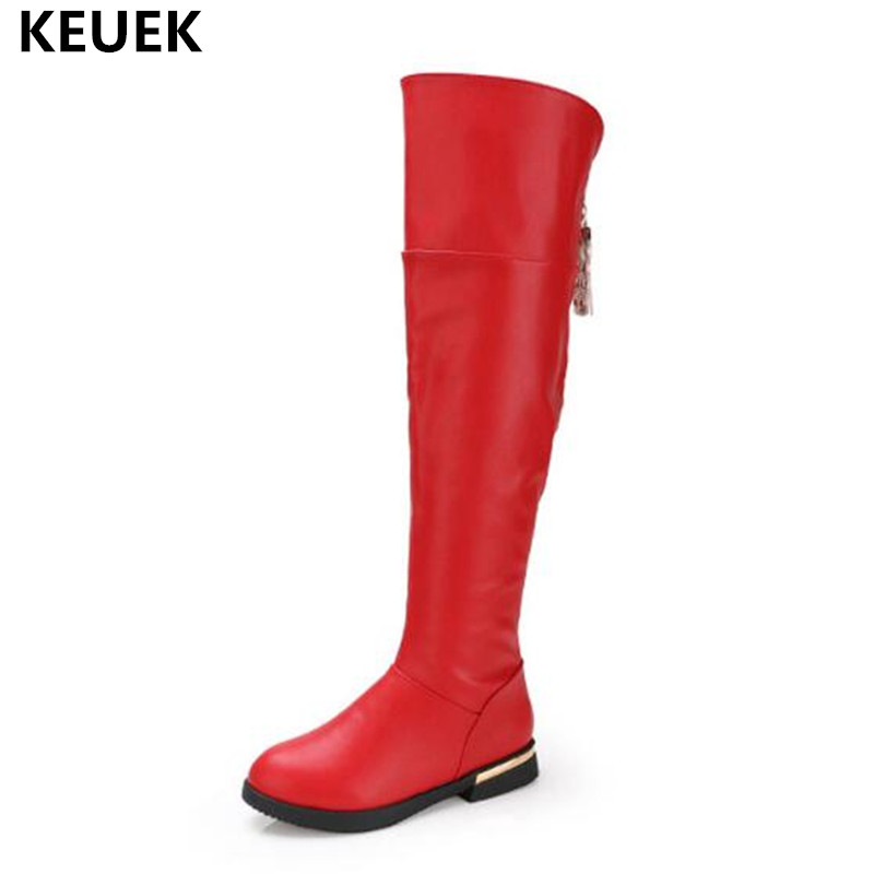 New Winter Genuine Leather Boots Children Girls Knee-High Boots Princess High Quality Snow Boots Kids Baby Warm Plush Shoes 041 цены онлайн