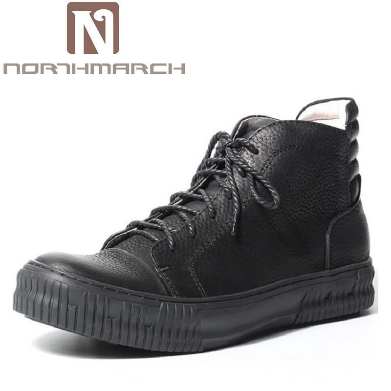 Northmarch Nero Alta In Stivali Mucca Di Uomini Qualità Trend Pelle  Coturnos Degli Scarpe Cuoio Masculino Militar Il Invernali ... 0941bfb2e6b