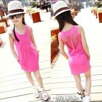 Hot New 2017 Summer Girl Dress Baby Girls Vest Dress Cotton Girl Clothing Hollow Pocket Bag