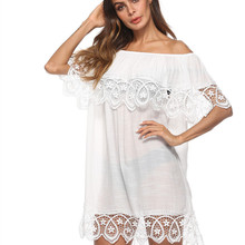 For The Beach Swimwear Cover Up Women Swim Skirt Outings 2019 Women's Tunic New Lace Sexy Dress Sun Animal Cotton