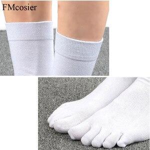 Image 5 - 10 Pairs אביב קיץ באיכות גבוהה מצחיק כותנה 5 אצבע הבוהן שמלת גרביים לגברים השומר Socken שחור לבן 39 40 42