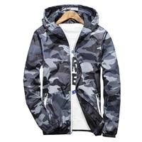 New 2017 Autumn Hooded Jacket Men Thin Military Jacket Noctilucent Features Zipper Windbreakers Jacket Plus Size