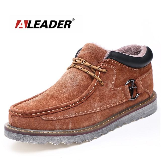 953e747e30f ALEADER 2017 Leather Snow Boots Men Waterproof Winter Shoes Casual Suede Ankle  Boots Men Martin Fur Boots Cowboy Shoes Men Botas