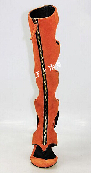 Fashion Beach Women Boots Orange Leather Thigh High Boots Cut out ...