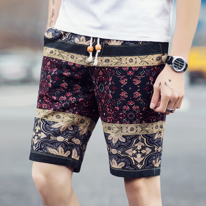 2020 Male Thin Summer Recreational Shorts Tropical Man Flax Flower Shorts   Beach Shorts