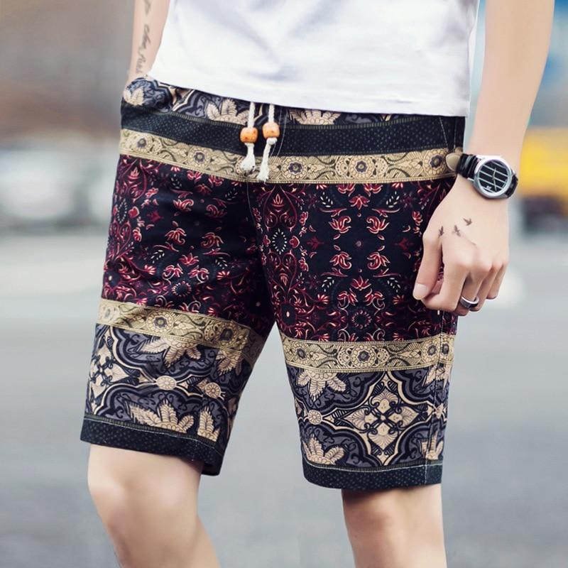 2020 Male Thin Summer Recreational Shorts Tropical Man Flax Flower Shorts   Beach Shorts