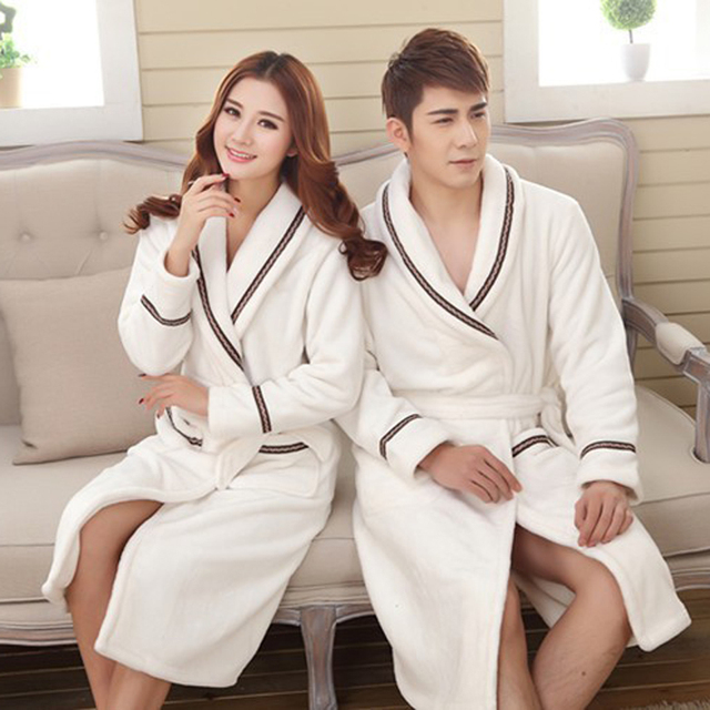 Flannel Pajamas Unisex 2017 New Bathrobes Couple Bath Robe Cotton High Quality Luxury Winter Thick Flannel Robes Women 4Colors