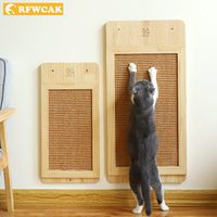 RFWCAK Cat Wood Scratch Board Cat Wall mounted Kat Scratcher Pad Kitten Scratching Sisal Mat Furniture Sofa Claw Protector Pads