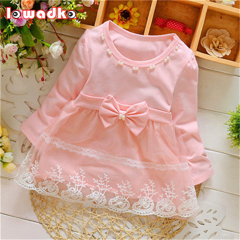 Spring Long Sleeve Lace Bow Baby Party Birthday girls kids Children Cotton dresses princess infant Dress toddlers girls dots deer pleated cotton dress long sleeve dresses