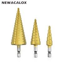 NEWACALOX 4 12mm 4 20mm 4 32mm Hex Head High Speed Steel Titanium Step Drill Bits