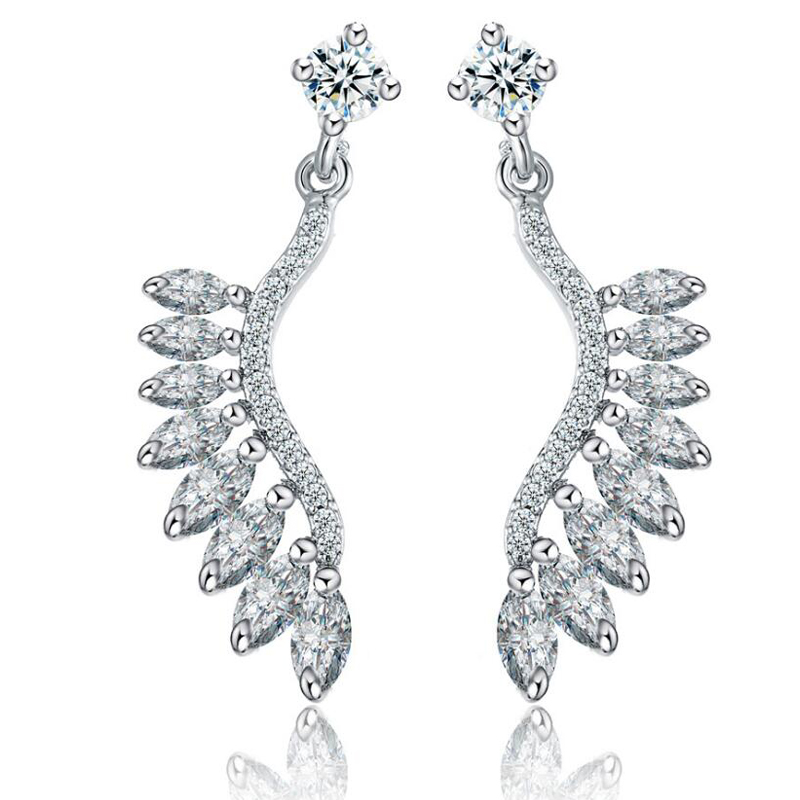XOWSHINE Angel Wing Hanging Earrings Women Korean AAA Zirconia Claires feather Earrings Female White Jewelry Pendientes Aros