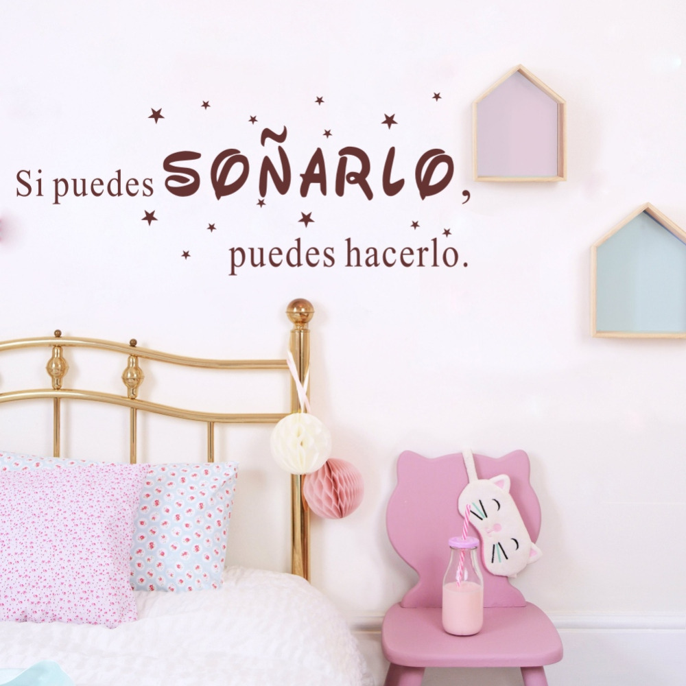 Spanish Quotes Si Puedes Sonarlo Puedes Hacerlo Wall Stickers Inspirational Words Wall Decals Vinyl Art Mural for Home Decor