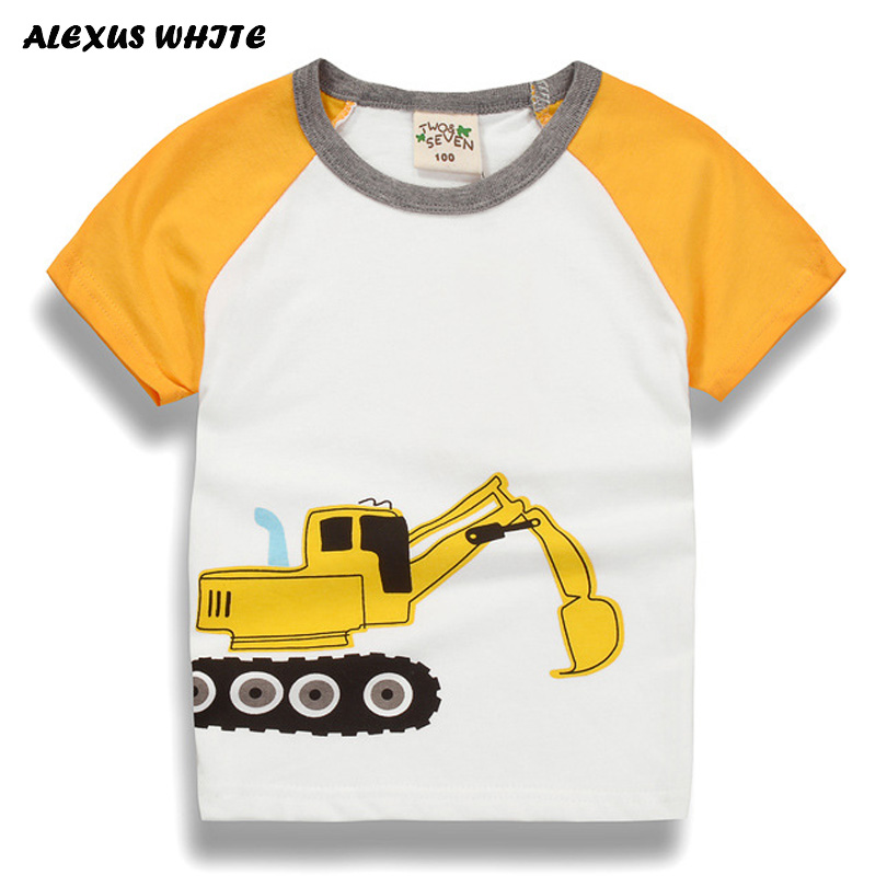 Cartoon T Shirt For Kids 2018 Summer Children's Tops Cotton Tees Baby Excavator Print T-shirts Boys Clothing Girls Clothes monkids 2017 brand dot vest tops girls t shirt tees cartoon sling baby girl summer wear clothing girls blouse for 1 5y
