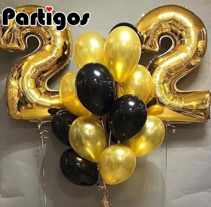 14pcs/lot Large 30inch Gold Number Balloons Adult Boy Girl <font><b>22</b></font> Year Old <font><b>Birthday</b></font> Party 2.2G Gold Black Helium Latex Decoration image