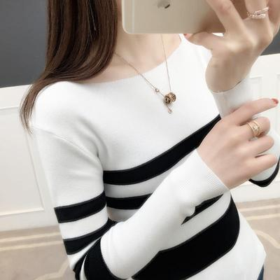New Fashion 2019 Spring And Summer New Style One Word Collar Long Sleeve Black And White Stripe Slim Knit Sweater