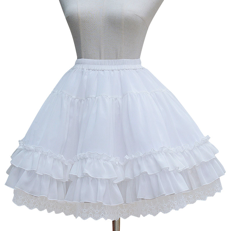 Sweet Lolita Chiffon Under Shirt Under A-line Косплей Petticoat қабатталған Ruffles бар