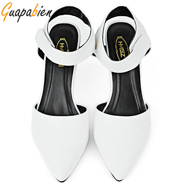 Guapbien Women Wedges  Ankle Pointed Toe Pumps Sexy Sandals High Heels Shoes Summer Solid Color Women Summer Dress Pumps Shoes