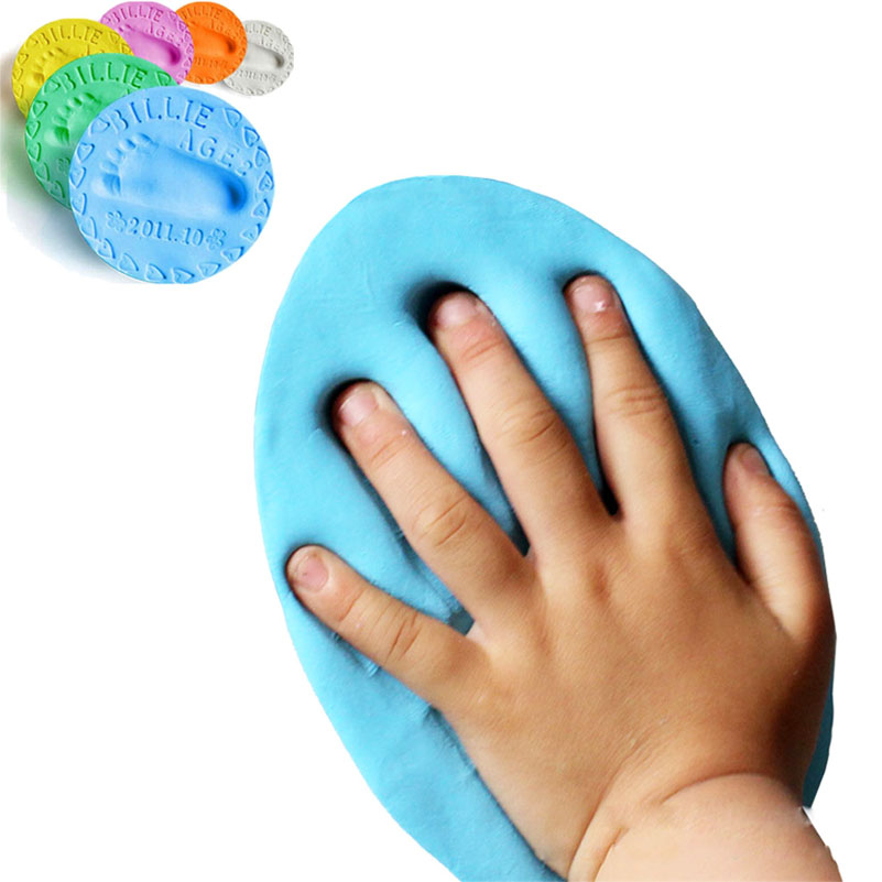 100g Air Drying Soft Clay Baby Handprint Footprint Imprint Kit Casting Parent child hand ink pad
