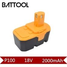 1X18 V 2000 mAh Ni-CD Bateria Recarregável Para P102 P103 P104 Ryobi P100 P105 P107 P108 ABP1801 BPP1820 BPP-1815 BPP-1817