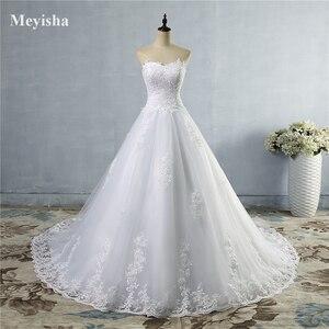 Image 2 - ZJ9059 2019 2020 ثوب أبيض عاجي تول فستان زفاف على شكل قلب صورة حقيقية ذيل محكمة لفساتين العروس مقاس كبير جودة عالية