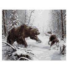 Digital Oil Painting Coloring By Numbers,DIY Hobby At Home,Painting By Numbers Bear Fight Wolf цена и фото