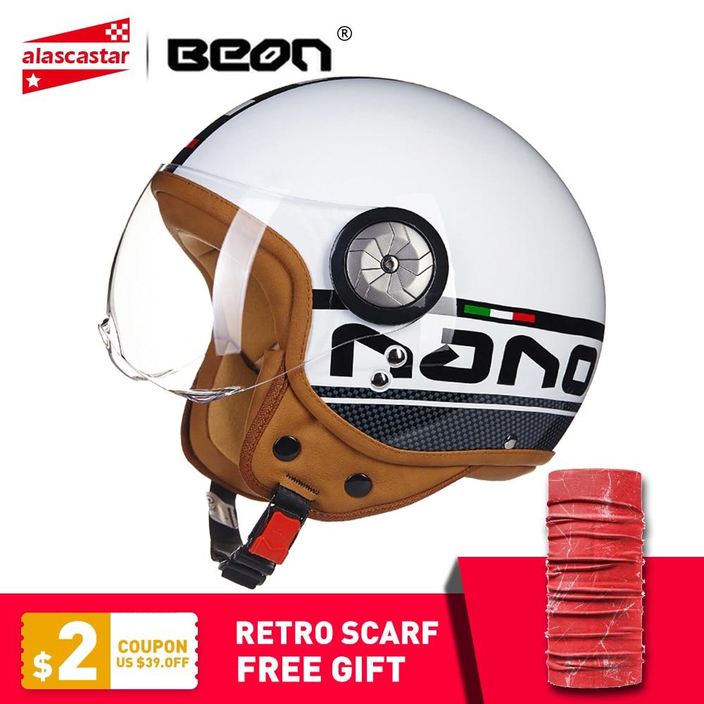 BEON Retro Motorcycle Helmet Vintage 3 4 Open Face Scooter Moto Biker Helmets Men Women Vintage