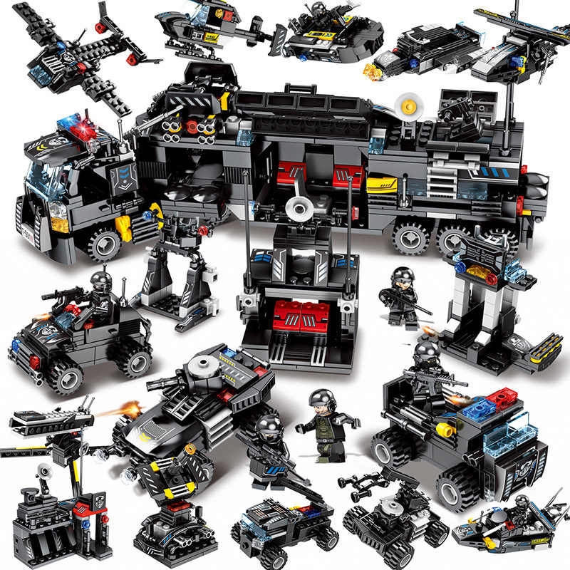 695pcs Enlighten toy for children blocks Compatible Legoeds city Black eagle special team Aircraft tank combat force figures toy