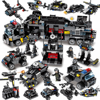 695pcs Enlighten toy for children blocks Compatible Legoeds city Black eagle special team Aircraft tank combat force figures toy