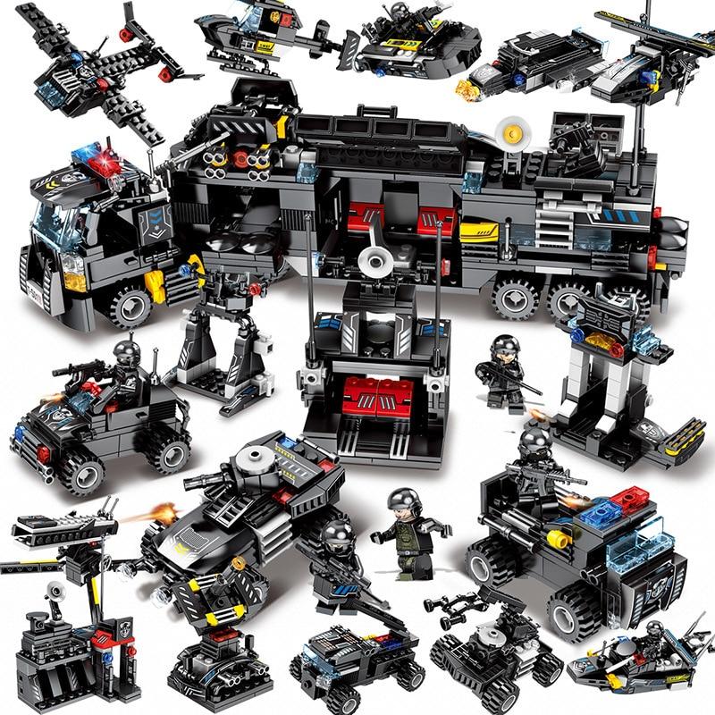 695pcs Enlighten toy for children blocks Compatible Legoeds city Black eagle special team Aircraft tank combat