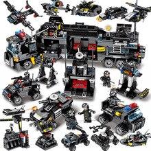 695 шт. Enlighten игрушка для детей Конструкторы Совместимость Legoeds город черный орел специальная команда самолета Танк боевой силы цифры игрушка