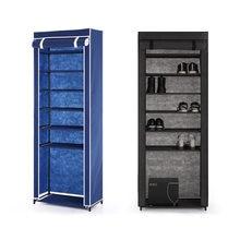 IKayaa-estante de gabinete de tela de 7 niveles, clásico, portátil, no tejido con cremallera, botas de pie, organizador de almacenamiento de zapatos, 10 pares