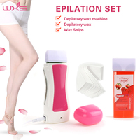 Wax Heater Set 100g Epilator Roll On Depilatory Hair Removal 80pcs Waxing Strip Wax Cartridge