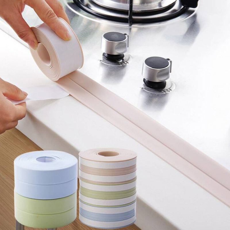 S Waterproof Mildew Proof Corner Line Sticking Strip Foldable Protective Wall/Table Kitchen Sink Adhesive Tape Joint Crevice PVC