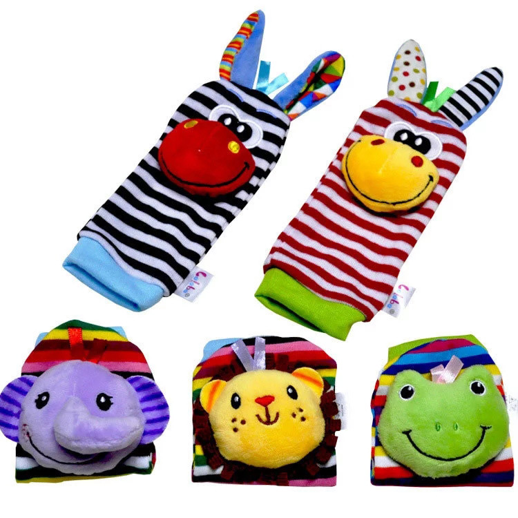 Baby Toys For Baby 0-12 Month Plush Wrist Rattles Toys Toddler Toys Cartoon Animal Bell Wrist Belt Socks Gift Neonatal Pacifying