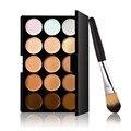¡ Promoción!! 15 Colores Crema Facial Corrector Contorno Paleta de Maquillaje desnudo facial Polvos Base Brush Set de Maquillaje Herramienta Cosmética