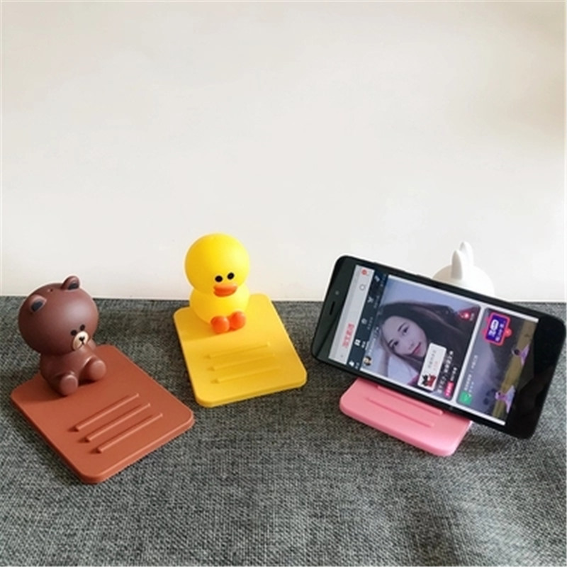 Cartoon Character Silicone Doll Desktop Mobile Cell Phone Holder Stand For iPhone iPad Smartphone Desk Tablet Bracket Mini Lazy