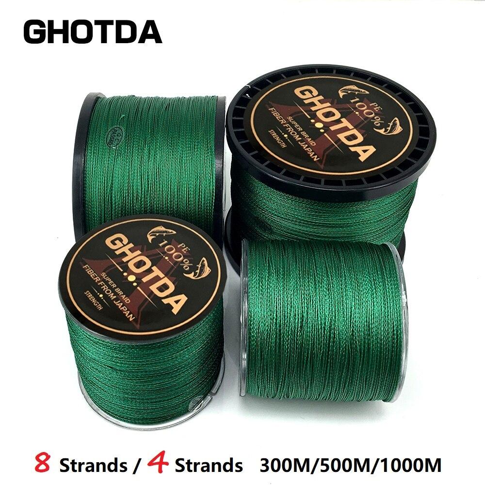 GHOTDA 8 hebras 4 hebras Super fuerte PE multifilamento línea de pesca 1000 m 300 m 500 m trenzado línea de pesca cuerda verde