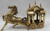 9Chinese Folk Pure Brass Lucky beautiful Lifelike Horse pull a cart Statue