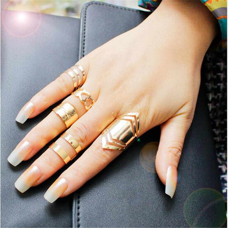 5pcs /Set Punk Zinc Alloy Material Golden Opening Rings Set For Women Hollow Finger Jewelry Fashion Accessories