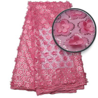 2017 Pink Free Shipping African French Lace Fabric High Quality African Tulle Lace Fabric For Wedding African Net lace NA840B 1