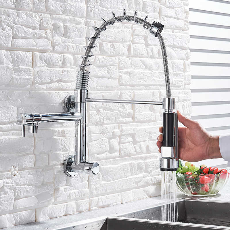 Wall Mounted Spring Kitchen Faucet Pull Down Sprayer Dual Spout Single Cold Water Mixer Sink Faucet 360 Rotation Kitchen Faucets Kitchen Faucets Aliexpress