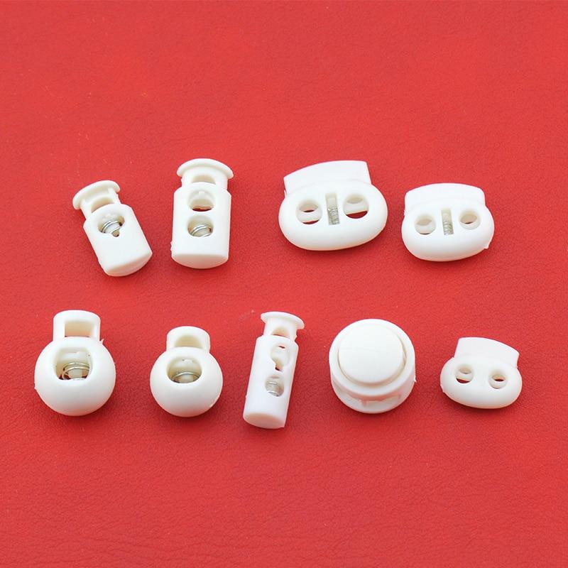 10pcs White Cord Lock Spring Clasp Plastic