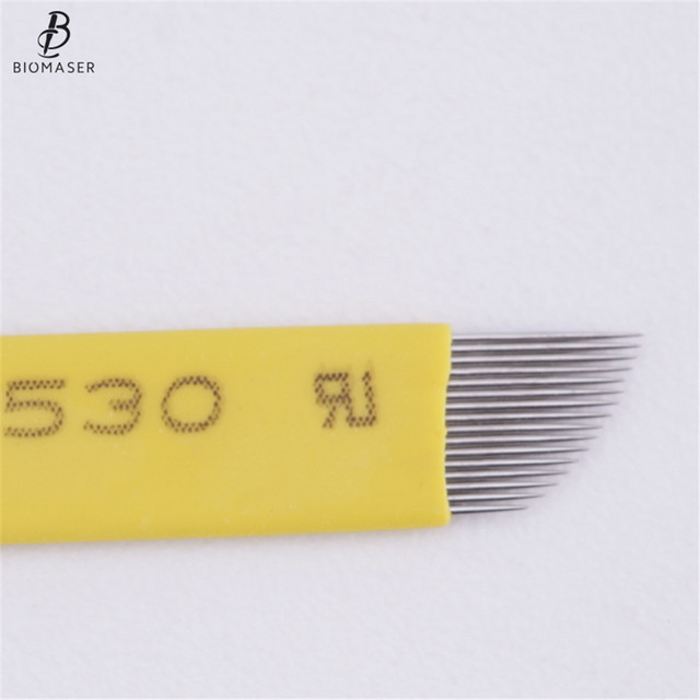 Biomaser 50pcs Permanent Makeup Eyebrow Tatoo Blade Microblading Needles For 3D Embroidery Manual Tattoo Pen 1