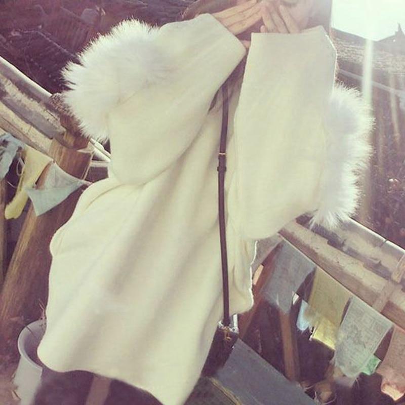 CFYH 2018 New fashion women's winter Both sides wear Turtleneck Hoodie long warm White maomao loose Hoodie coat