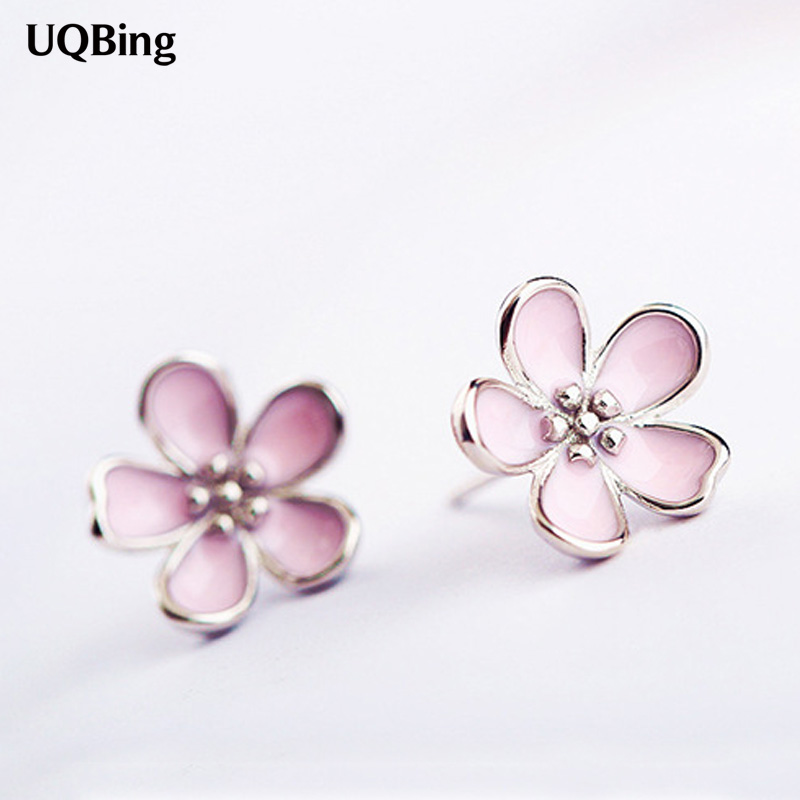 Fashion 925 Sterling Silver Flower Stud Earrings Jewelry Pendientes Brincos Fashion Jewelry Drop Shipping
