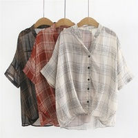 Chiffon Blouses &Shirts Plus Size Casual Loose Summer Woman 2019 New Women Plaid Oversized All Match Tops Blouses Shirts 4XL