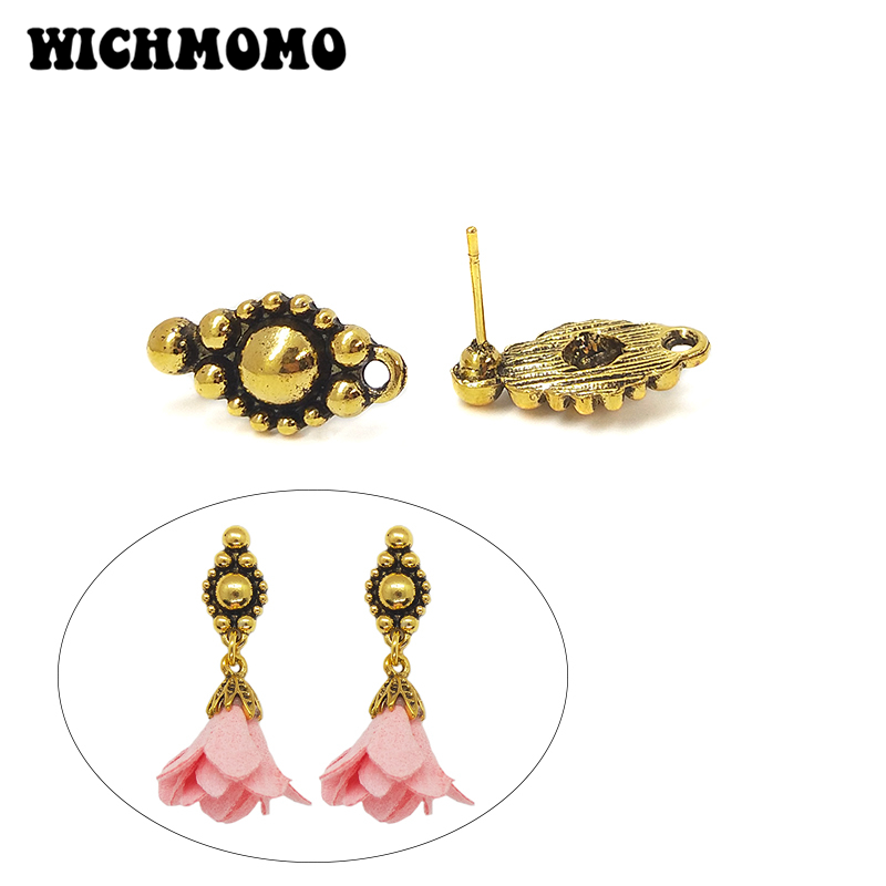 2019 New Fashion 18mm 10pieces/bag Retro Zinc Alloy Oval Earring Base Connectors Linkers For DIY Earring Jewelry Accessories
